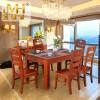 实木餐桌定制 现代中式家用实木餐桌椅 海棠原木餐桌椅组合